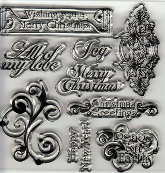 Christmas Stamp - Various Sentiments - 9 Clear Different Stamps *