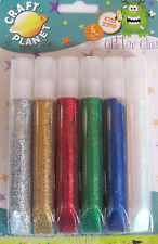 Glitter Glue Pens - 6 Colours - Silver, Gold, Red, Green, Blue and White *