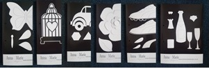 6 x Die Cut Stencil Sheets - Champagne Glass, Football Boots, Butterfly, Car, Flower, Birdcage, . *