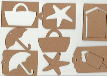 Craft Kit - 5 Chipboard Shapes with 5 Matching Templates - FREE - 2 x Ball Chains & 1 Metre of Ribbon . -