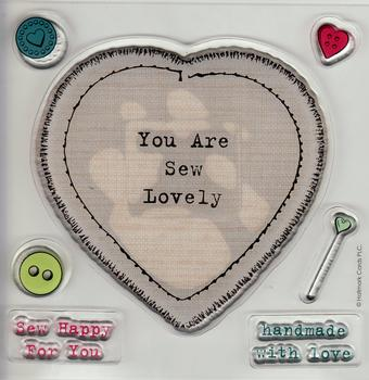 YOU ARE SEW LOVELY - Stamp Set - Buttons & Sentiment included - Sew Happy for you and Handmade with love *
