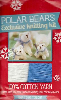 Knitting Kit - POLAR BEARS - Mummy Bear or 2 Baby Bears . *