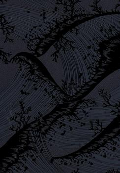 Embossed Tree Design on Dark Blue/Black Background . *