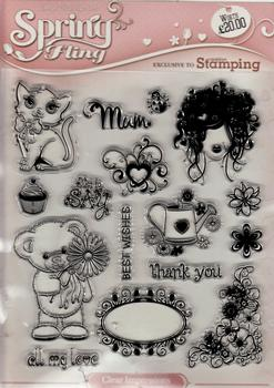 Clear Stamp Set - Mum / Cat / Lady / Flowers and Sentiments PS125 . -