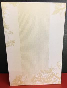 Crafty Bitz - Cream & Gold Floral Card & Envelopes - Pack of 5 . -