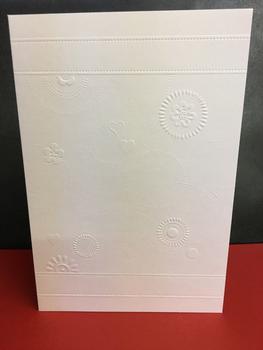 Craft House - Pack of 5 White Embossed Flower Themed Embossed Card & Envelope -