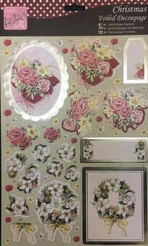 Die-Cut Oval Shaped Christmas Roses on a beautiful Pillow & a Wreath with White Flowers . -Jacksons mail Order
