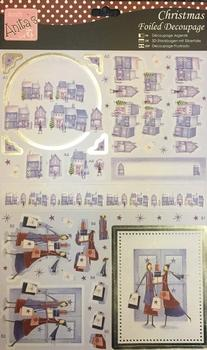 Folied Edged Christmas themed Die-Cut - Christmas Village & Ladies Who Shop . -