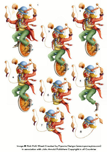 Step by step - Rob Pohl Unicycle Clown 3d Card Art Rob Pohl