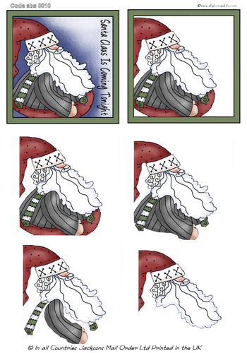 Large Decoupage - Father Christmas 3d Card Art RRP 75p