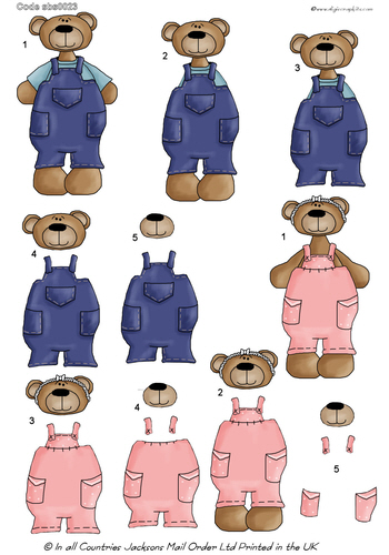 Large Decoupage - Bear Fun 3d Card Art RRP 75p