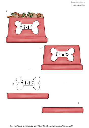 Large Decoupage - Fido Doggy Bowl 3D Card Art -