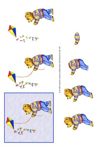 Large Decoupage - Kite Flying Bear 3d Card Art -