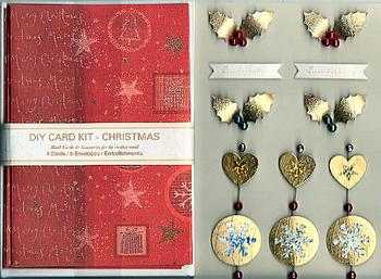 Christmas DIY Card Kit 5 - Gold Holly . *
