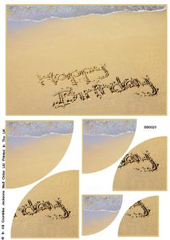 Happy Birthday In The Sand Corner Stacker Sheet . FANTASTIC OFFER!!