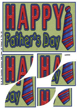 Happy Fathers Day - Corner Stacker Sheet - Green . FANTASTIC OFFER!!