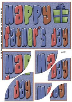 Happy Father's Day - Corner Stacker Sheet - Blue . FATHERS DAY SPECIAL