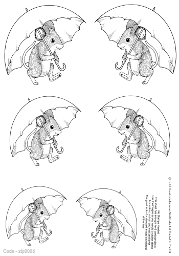 No Stamping Required - Mr Mouse under His Umbrella 3d Card Art RRP 75p