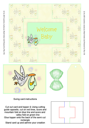 Swing Cards - Welcome Baby 3D Card Art papertole.co.uk