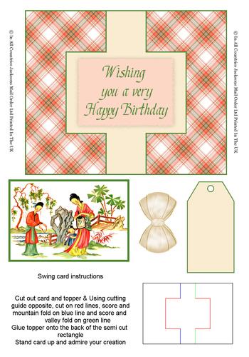 Swing Cards - Oriental Birthday 3D Card Art RRP 85p