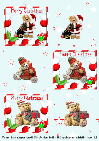 3 Different Christmas Teddies wishing Merry Christmas - Topper Sheet - 3 Projects  . -Jacksons mail Order