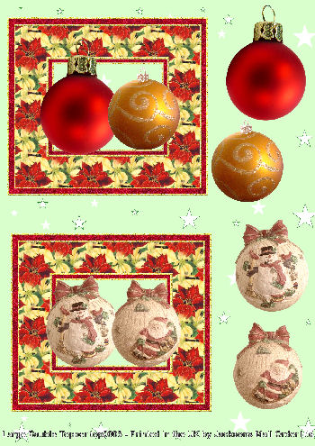 Topper Sheet - Large Xmas Baubles 3D Card Art Topper Sheets