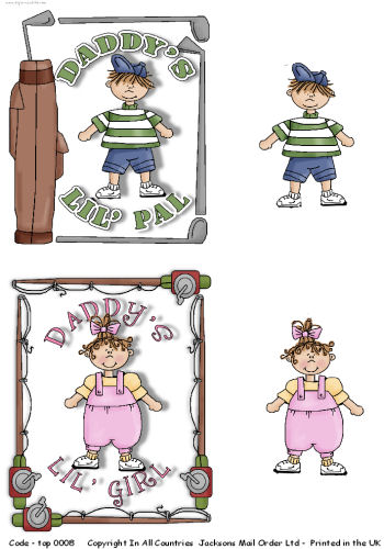 Large Topper - Daddy's Boy - Girl 3d Card Art RRP 75p