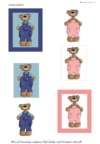 Large Topper - Teddy Bears 3D Card Art RRP 75p