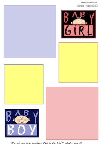 Large Topper - Baby Boy/Girl 1 3D Card Art RRP 75p