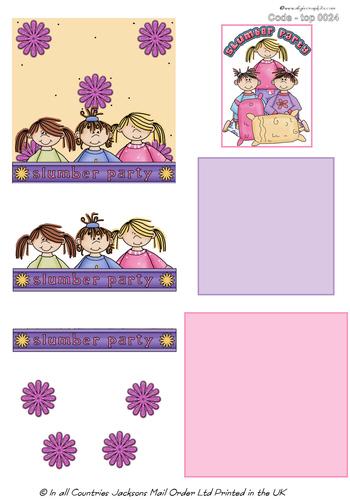 Large Topper - Slumber Party 1 3D Card Art RRP 75p