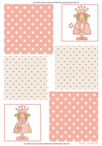 Large Topper Sheet - Little Princess 3d Card Art RRP 75p