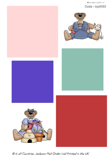 Large Topper - Teddy Bears 3d Card Art RRP 75p