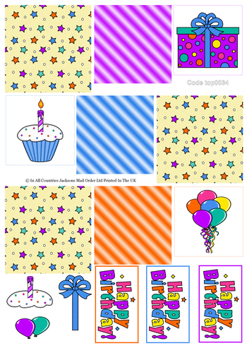 Tri Topper Sheet - Birthday 2 3D Card Art RRP 75p