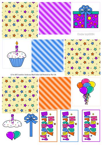 Tri Topper Sheet - Birthday 2 3D Card Art RRP 75p