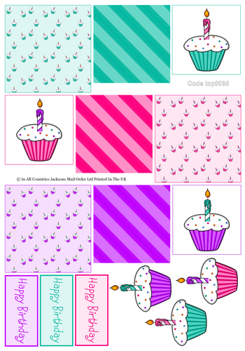 Tri Topper Sheet - Birthday 3 3d Card Art RRP 75p