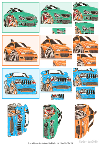 2 in 1 Toppermyd - Sports Cars 3d Card Art RRP 85p