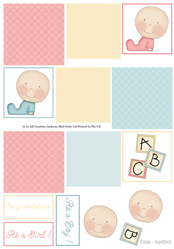 Multi Topper Sheet - Baby Boy / Girl 3d Card Art RRP 75p