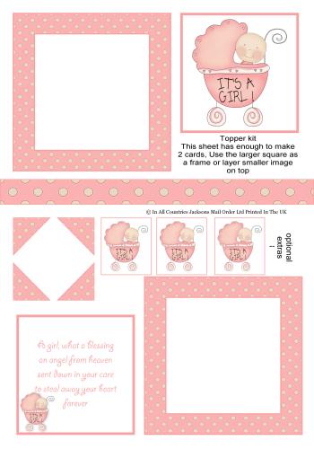 Multi Topper - It's a Girl 3d Card Art RRP 75p
