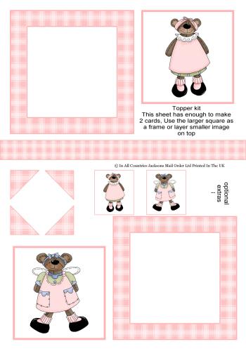 Multi Topper - It's a Teddy Girls 3d Card Art RRP 75p