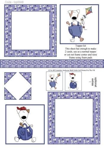 Multi Topper Sheet - Topper Dogs 3d Card Art RRP 75p