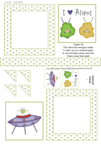 Multi Topper Sheet - Alien Invasion 3d Card Art RRP 75p