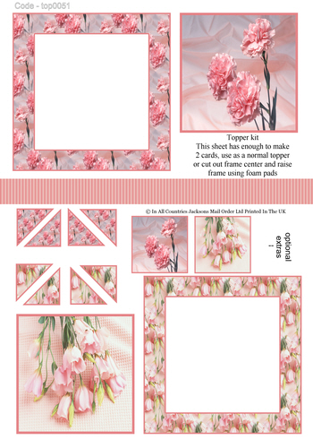 Multi Topper Sheet - Florals 3d Card Art RRP 75p