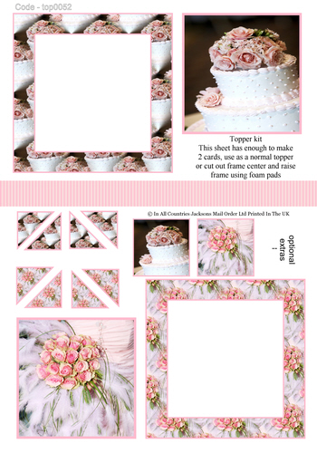 Multi Topper Sheet - Wedding Cake 3D Card Art RRP 75p