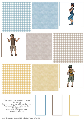 Multi Topper Sheet - Boys 3D Card Art RRP 75p