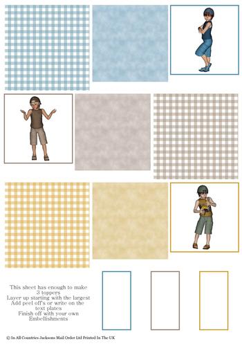 Multi Topper Sheet - Boys 3D Card Art RRP 75p