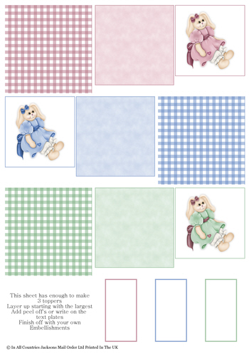 Multi Topper Sheet - Cuddle Bunnies 3D Card Art RRP 75p