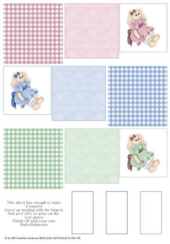 Multi Topper Sheet - Cuddle Bunnies 3D Card Art RRP 75p