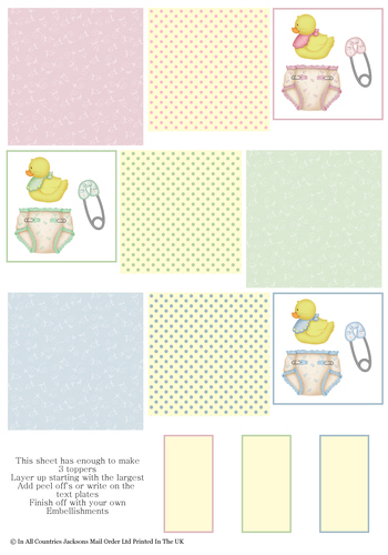 Multi Topper Sheet - Babies 3D Card Art RRP 75p