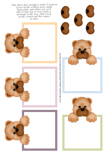 Multi Topper Sheet - Teddies Toppers 3D Card Art RRP 75p