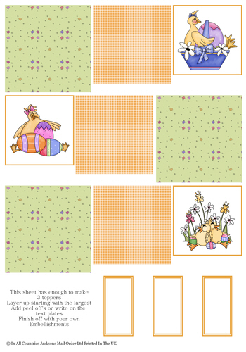 Multi Topper Sheet - Easter Chicks 3D Card Art RRP 75p